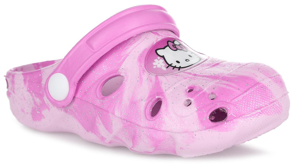 HK002220Модные сабо Hello Kitty от Mursu придутся по душе вашей девочке. Модель полностью выполнена из материала ЭВА и украшена блестками. Обувь из ЭВА материала невероятно легкая и удобная, она легко моется и быстро сохнет. Передняя часть модели оформлена вставкой из ПВХ с изображением героини мультфильма Hello Kitty, задняя часть подошвы - вставкой из ПВХ с фирменной надписью. Отверстия по бокам обеспечивают естественную вентиляцию. Стелька с рельефной поверхностью обеспечивает стимуляцию кровообращения и дополнительный комфорт при движении. Пяточный ремешок предназначен для фиксации стопы при ходьбе. Рифление на подошве гарантирует идеальное сцепление с любой поверхностью. Такие сабо - отличное решение для каждодневного использования!