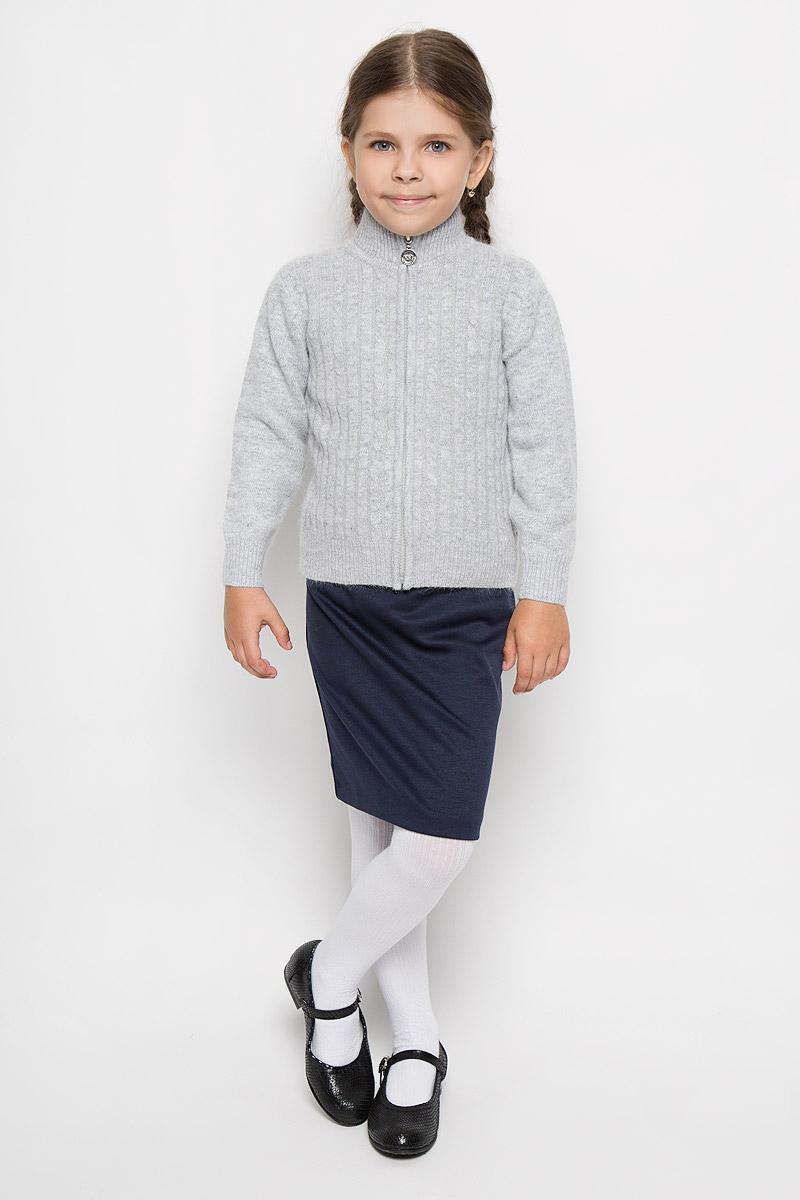 Кофта для девочки. 80206-2080206-20Теплая вязаная кофта для девочки M&D идеально подойдет вашей маленькой моднице. Изготовленная из мягкой пряжи, она необычайно мягкая и приятная на ощупь, не сковывает движения ребенка, обеспечивая ему наибольший комфорт. Кофта с длинными рукавами и воротником-стойкой оформлена вертикальными полосками, чередующимися с узором косичка. Низ рукавов, воротник и низ изделия связаны резинкой. Изделие застегивается на пластиковую застежку-молнию. Современный дизайн и расцветка делают эту кофту незаменимым предметом детского гардероба. В ней вашей маленькой принцессе будет уютно и тепло, и она всегда будет в центре внимания!