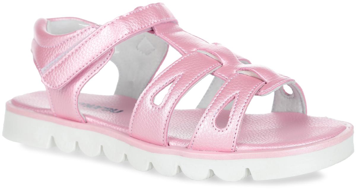 Сандалии для девочки. 100372100372Прелестные сандалии от Mursu очаруют вашу девочку с первого взгляда. Модель изготовлена из искусственной кожи с фактурным тиснением. Ремешок с застежкой-липучкой обеспечивает надежную фиксацию модели на ноге. Передние ремешки оформлены декоративной перфорацией. Внутренняя поверхность из натуральной кожи не натирает. Стелька из искусственной кожи комфортна при движении. Подошва с протектором обеспечивает сцепление с любой поверхностью. Стильные сандалии - незаменимая вещь в гардеробе каждой девочки!