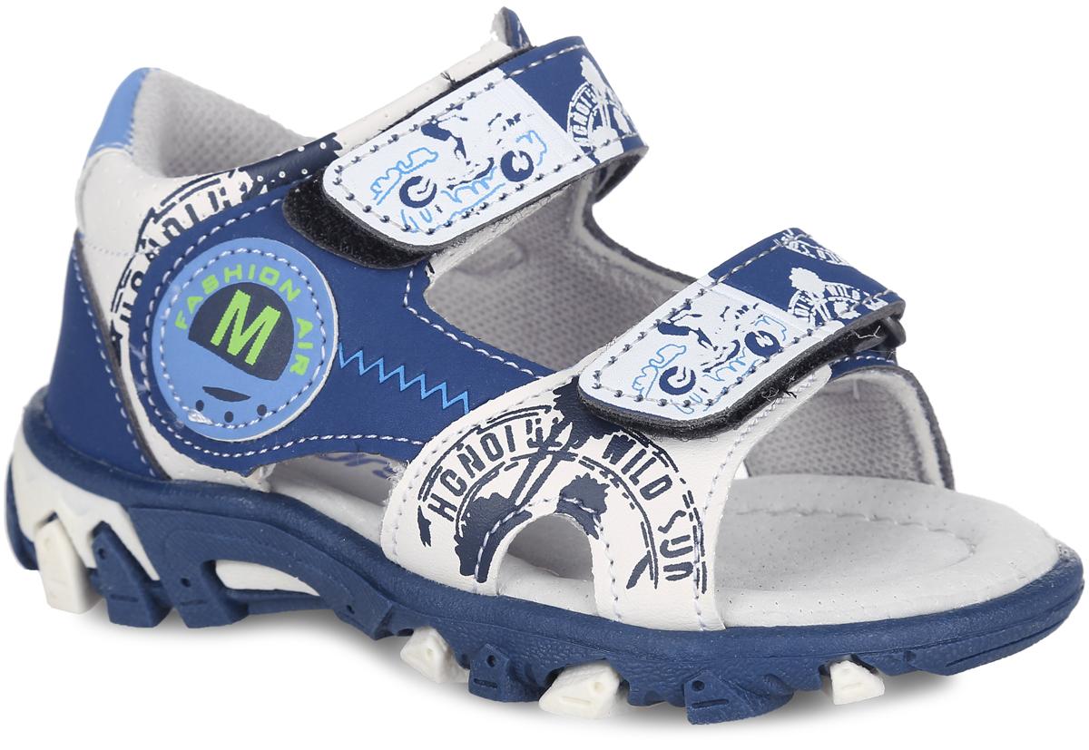 Сандалии для мальчика. 100393100393Модные сандалии от Mursu придутся по душе вашему мальчику. Модель, изготовленная из искусственной кожи, оформлена сбоку декоративной нашивкой и надписями. Ремешки с застежками-липучками, оформленные оригинальным принтом, обеспечивают надежную фиксацию модели на ноге. Внутренняя поверхность из хлопка не натирает. Стелька из натуральной кожи дополнена супинатором, который обеспечивает правильное положение стопы ребенка при ходьбе и предотвращает плоскостопие. Подошва с рифлением обеспечивает сцепление с любой поверхностью. Стильные сандалии - незаменимая вещь в гардеробе каждого мальчика!