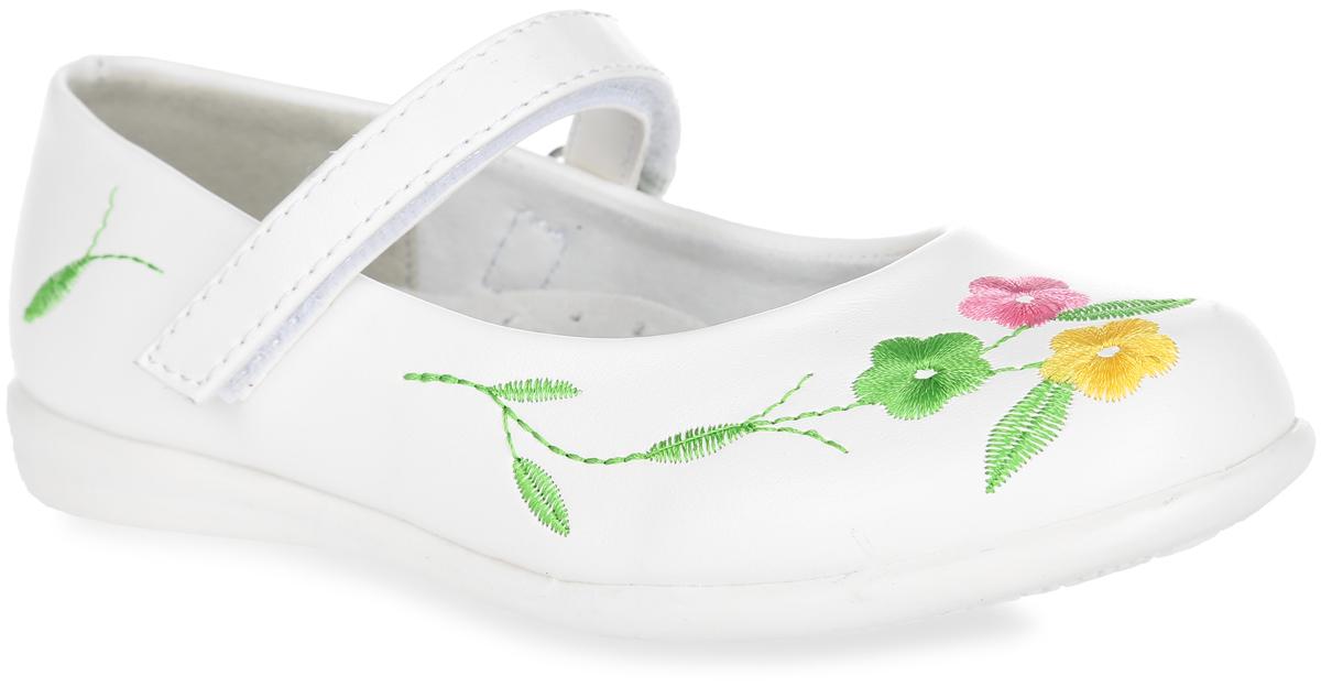 Туфли для девочки. 100353100353Прелестные туфли от Mursu очаруют вашу девочку с первого взгляда! Модель выполнена из искусственной кожи и оформлена вышивкой. Ремешок с застежкой-липучкой надежно зафиксирует ножку ребенка. Внутренняя поверхность из натуральной кожи не натирает. Стелька из материала ЭВА с поверхностью из натуральной кожи дополнена супинатором с перфорацией, который обеспечивает правильное положение стопы ребенка при ходьбе и предотвращает плоскостопие. Рифленая поверхность подошвы обеспечивает отличное сцепление с любой поверхностью. Стильные туфли - незаменимая вещь в гардеробе каждой девочки!