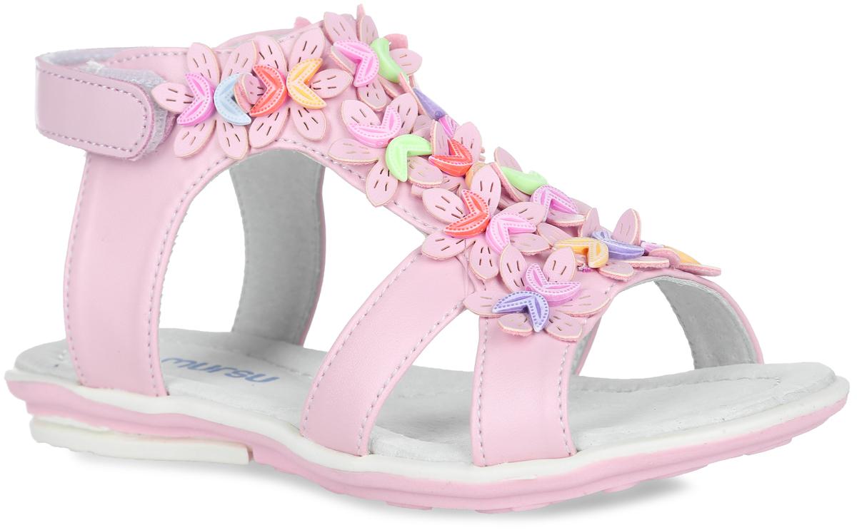 Босоножки для девочки. 100368/100369100368Прелестные босоножки от Mursu очаруют вашу девочку с первого взгляда! Модель выполнена из искусственной кожи. Ремешок на застежке-липучке надежно закрепит обувь на ножке. Подъем оформлен декоративными элементами в виде цветочков. Внутренняя отделка и стелька из натуральной кожи комфортны при движении. Стелька дополнена супинатором, который обеспечивает правильное положение ноги ребенка при ходьбе, предотвращает плоскостопие. Подошва с рифлением гарантирует идеальное сцепление с любой поверхностью. Стильные босоножки поднимут настроение вам и вашей дочурке!