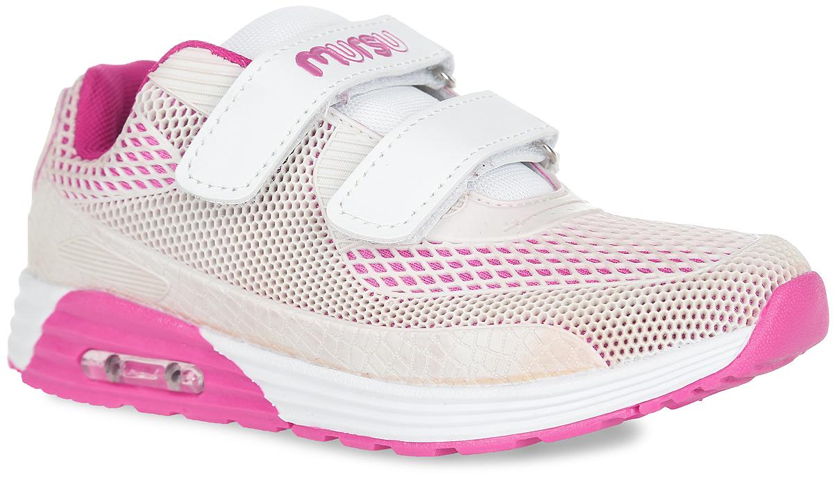 Кроссовки для девочки. 100024100024Стильные кроссовки от Mursu - идеальная обувь для активного отдыха вашей девочки. Модель, выполненная из текстиля и искусственной кожи, оформлена по всей поверхности бесшовной накладкой из ПВХ с перфорацией, на верхнем ремешке - тиснением в виде названия бренда, на подошве - прозрачной вставкой из пластика. Ремешки на застежках-липучках надежно зафиксируют модель на ноге. Съемная стелька EVA с поверхностью из натуральной кожи гарантирует комфорт при движении. Стелька дополнена супинатором, который отвечает за правильное формирование детской стопы. Подошва с протектором обеспечивает отличное сцепление с любыми поверхностями. Удобные кроссовки придутся по душе вам и вашему ребенку!