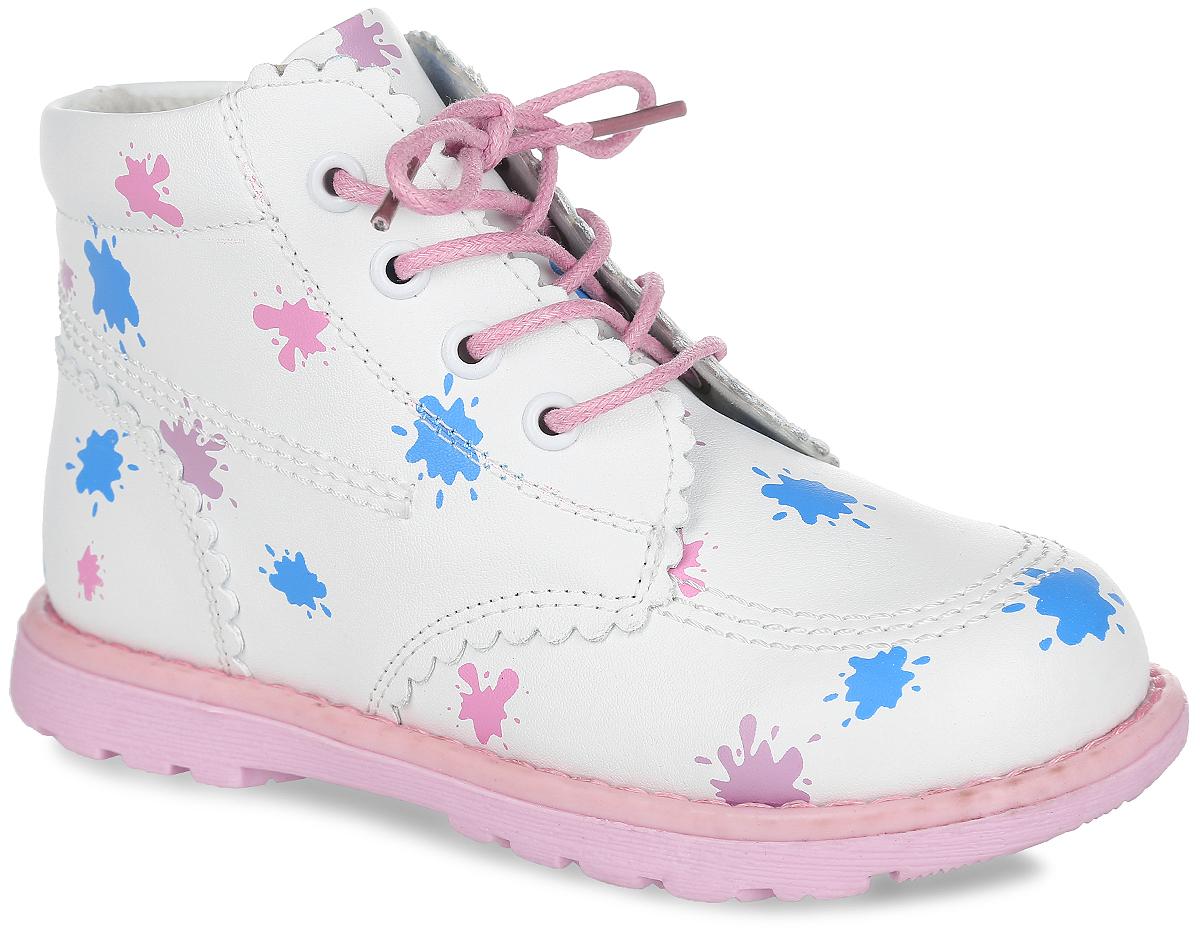 Ботинки для девочки. 10045100456Прелестные ботинки от Mursu очаруют вашу девочку с первого взгляда! Модель, выполненная из натуральной кожи, оформлена принтом в виде клякс, вдоль ранта - крупной прострочкой. Внутренняя поверхность из натуральной кожи не натирает. Стелька из материала ЭВА с поверхностью из натуральной кожи дополнена супинатором, который обеспечивает правильное положение стопы ребенка при ходьбе и предотвращает плоскостопие. Шнуровка обеспечивает надежную фиксацию модели на ноге. Боковая застежка-молния позволяет легко снимать и обувать модель. Рельефная поверхность подошвы обеспечивает отличное сцепление с любой поверхностью. Стильные ботинки - незаменимая вещь в гардеробе каждой девочки!