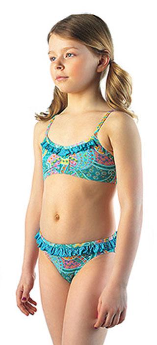 Купальник раздельныйGSB-16Модный пляжный купальник Lowry, изготовленный из качественного полиамида с добавлением эластана, приведет в восторг маленьких модниц. Декорирован яркими объемными рюшами и принтом с узорами.