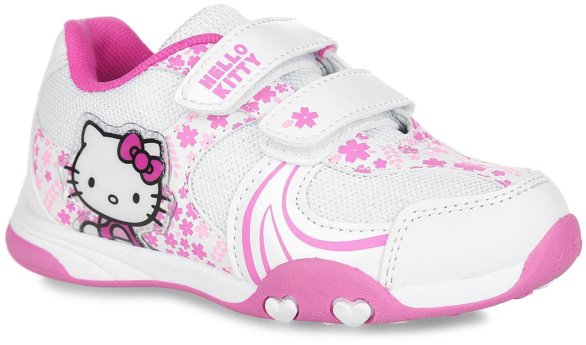 Кроссовки для девочки Hello Kitty. HK002061HK002061Прелестные кроссовки Hello Kitty от Mursu очаруют вашу девочку с первого взгляда. Модель, выполненная из текстиля с люрексом и искусственной кожи, оформлена цветочным принтом, сбоку - нашивкой из ПВХ с изображением героя мультфильма Hello Kitty, на верхнем ремешке - надписью Hello Kitty. Ремешки с застежками-липучками обеспечат надежную фиксацию модели на ноге. Внутренняя поверхность из текстиля предотвращает натирание. Стелька из ЭВА материала с текстильной поверхностью обеспечивает комфорт при движении. Подошва с рифлением гарантирует идеальное сцепление с любой поверхностью. Стильные и удобные кроссовки - незаменимая вещь в гардеробе каждой девочки!