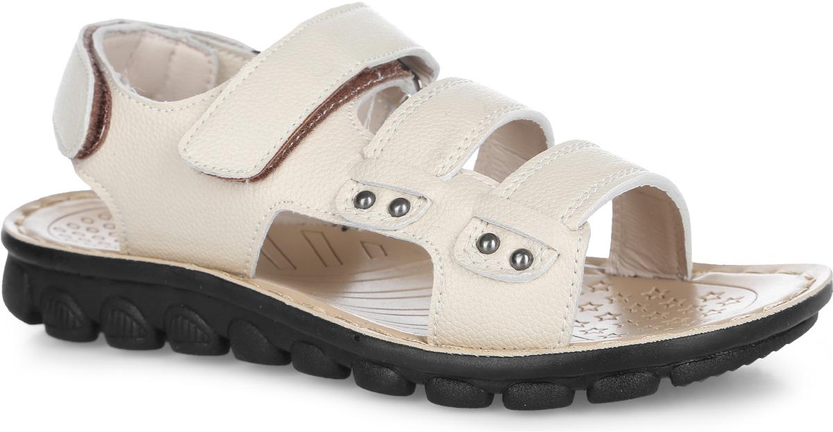 Сандалии для мальчика. 10063100633/100631Модные сандалии от Mursu придутся по душе вашему мальчику. Модель изготовлена из искусственной кожи и оформлена вдоль ранта крупной прострочкой. Ремешки с застежками-липучками обеспечивают надежную фиксацию модели на ноге. Внутренняя поверхность и стелька из искусственной кожи комфортны при движении. Подошва с рифлением обеспечивает сцепление с любой поверхностью. Стильные сандалии - незаменимая вещь в гардеробе каждого мальчика!