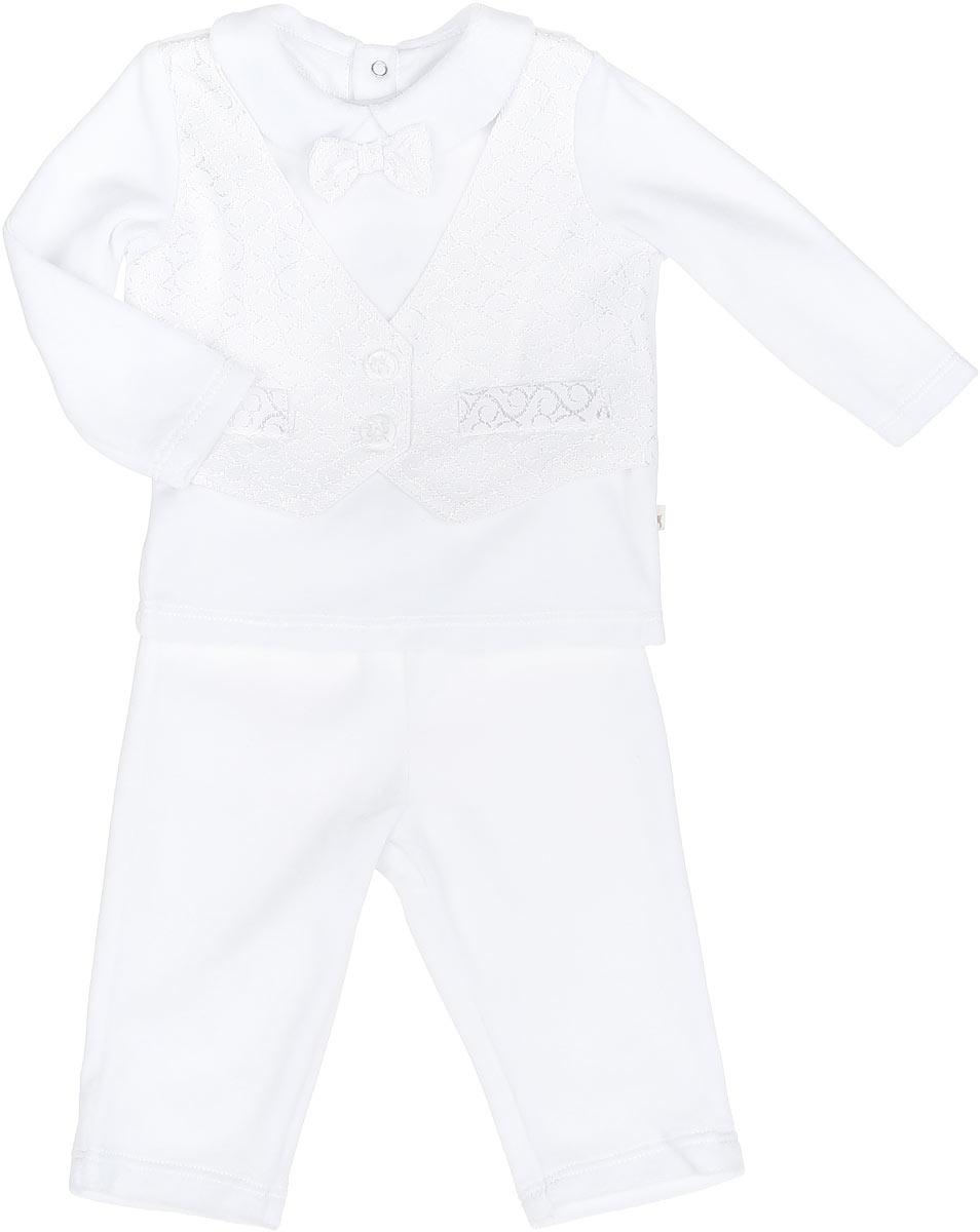 Комплект для мальчика: кофточка, штанишки. KC458KC458-1Очаровательный комплект для мальчика БЕМБІ прекрасно подойдет для вашего малыша. Комплект состоит из кофточки и штанишек, изготовленных из велюра. Комплект необычайно мягкий и приятный на ощупь, не сковывает движения малыша и позволяет коже дышать, обеспечивая ему наибольший комфорт. Кофточка с длинными рукавами и отложным воротником застегивается на спинке на три кнопки, которые позволяют без труда переодеть ребенка. Спереди она оформлена бабочкой и жилеткой с оригинальным узором и пластиковыми пуговицами. Отделка кофточки создает эффект 2 в 1. Штанишки прямого покроя очень удобные, с мягкой резинкой на талии, не сдавливают животик ребенка и не сползают. Мягкий и практичный трикотаж в сочетании с оригинальным дизайном - идеальный вариант для подарка.