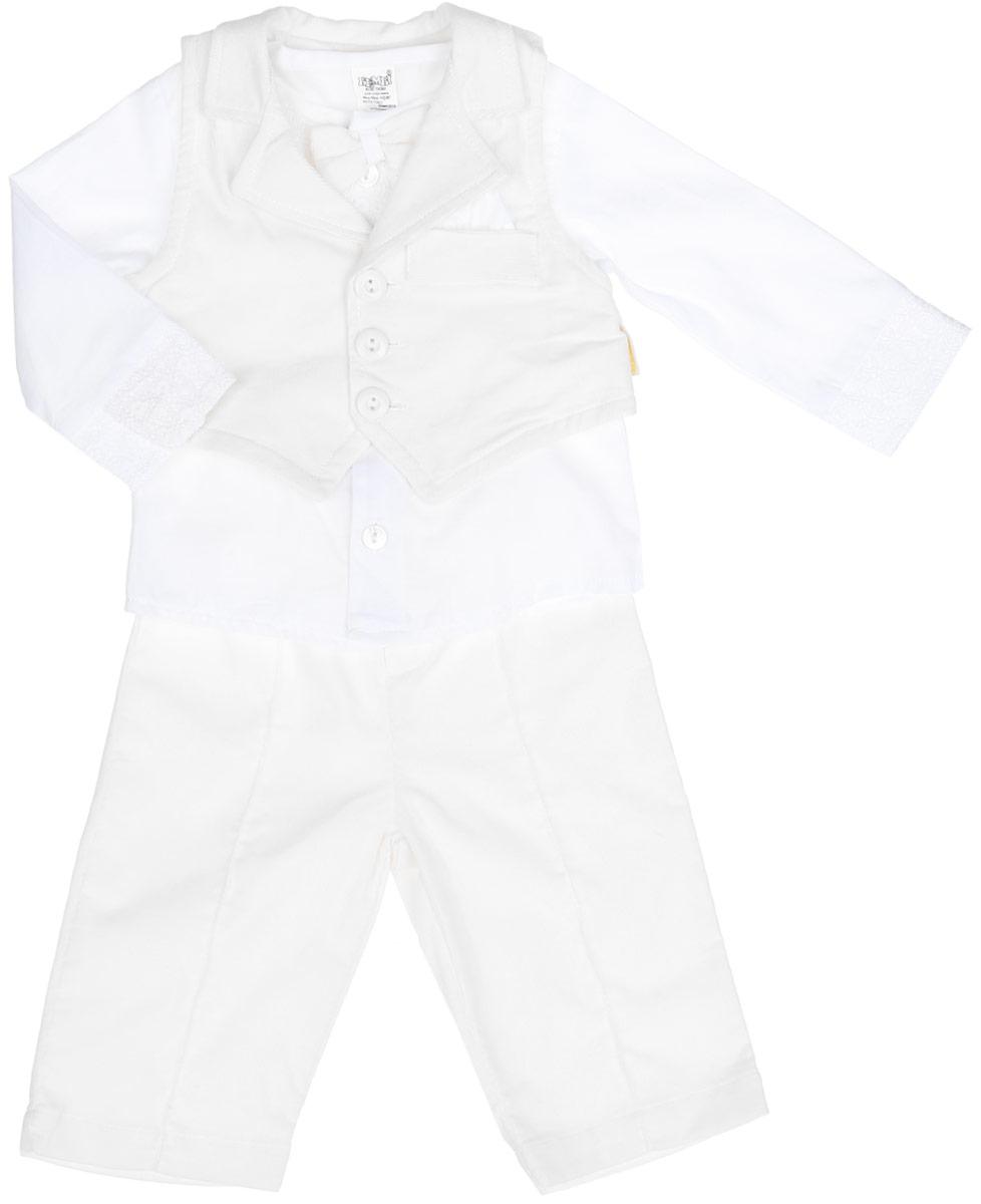KC287-1Комплект для мальчика БЕМБІ - это замечательный подарок, который прекрасно подойдет для вашего малыша. Комплект состоит из кофточки, жилетки и брюк. Изготовленный из натурального хлопка, он необычайно мягкий и приятный на ощупь, не сковывает движения малышки и позволяет коже дышать, не раздражает даже самую нежную и чувствительную кожу ребенка, обеспечивая ему наибольший комфорт. Рубашка с круглым вырезом горловины и длинными рукавами спереди застегивается на пуговички. Низ рукавов дополнен манжетами на пуговицах. Модель дополнена кружевными вставками по манжетам и на уровне груди. Горловина дополнена съемным бантиком. Жилет с отложным воротником с лацканами спереди застегивается на три пуговички. Модель оформлена имитацией прорезного кармашка на уровне груди. Брюки на поясе дополнены эластичной резинкой. Модель оформлена имитацией гульфика. В таком комплекте ваш малыш будет чувствовать себя комфортно, уютно и всегда будет в центре внимания!