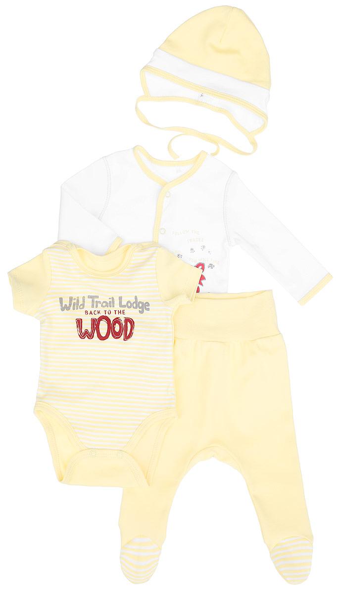 Комплект для новорожденного, 4 предмета. KP115KP115-14Комплект для новорожденного БЕМБІ - это замечательный подарок, который прекрасно подойдет для первых дней жизни малыша. Комплект изготовлен из хлопка и состоит из боди-футболки, ползунков, кофточки и чепчика. Он необычайно мягкий и приятный на ощупь, не сковывает движения малыша и позволяет коже дышать, не раздражает даже самую нежную и чувствительную кожу ребенка, обеспечивая ему наибольший комфорт. Кофточка с длинными рукавами застегивается на кнопки по центру изделия и оформлена оригинальным принтом. Края изделия дополнены трикотажной бейкой контрастного цвета. Боди-футболка с короткими рукавами оформлена спереди принтом в полоску и надписями на английском языке. Изделие застёгивается на застежки-кнопки на плечиках и на ластовице. Ползунки с закрытыми ножками на талии имеют широкий эластичный пояс, благодаря которому они не сдавливают животик ребенка и не сползают, обеспечивая наибольший комфорт. Модель идеально подходит для ношения с подгузником и без него. ...