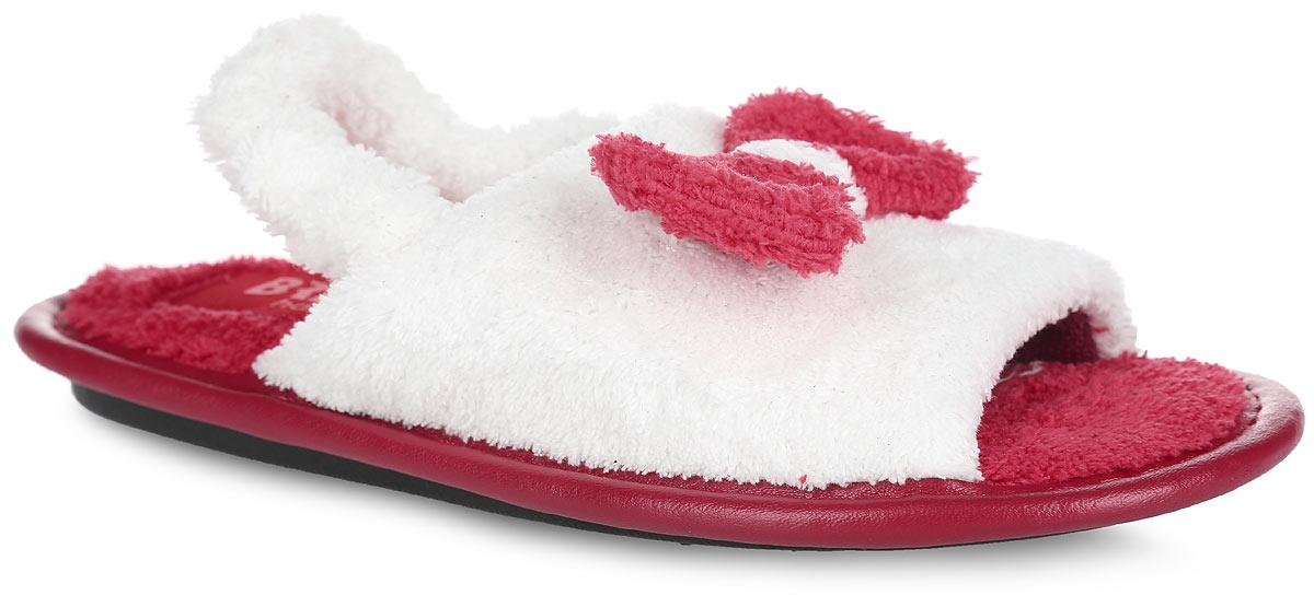 Тапки для девочки. 367-1367-12/2 КТР ДЛегкие домашние тапки с открытым носком от Bris придутся по душе вашей девочке! Верх модели, выполненный из мягкого текстиля, оформлен декоративным бантиком. Модель дополнена окантовкой из искусственной кожи. Резинка, оформленная текстилем, обеспечивает надежную фиксацию модели на ноге. Подкладка и стелька из текстиля комфортны при движении. Рифление на подошве обеспечивает идеальное сцепление с любой поверхностью. Чудесные тапки подарят чувство уюта и комфорта.