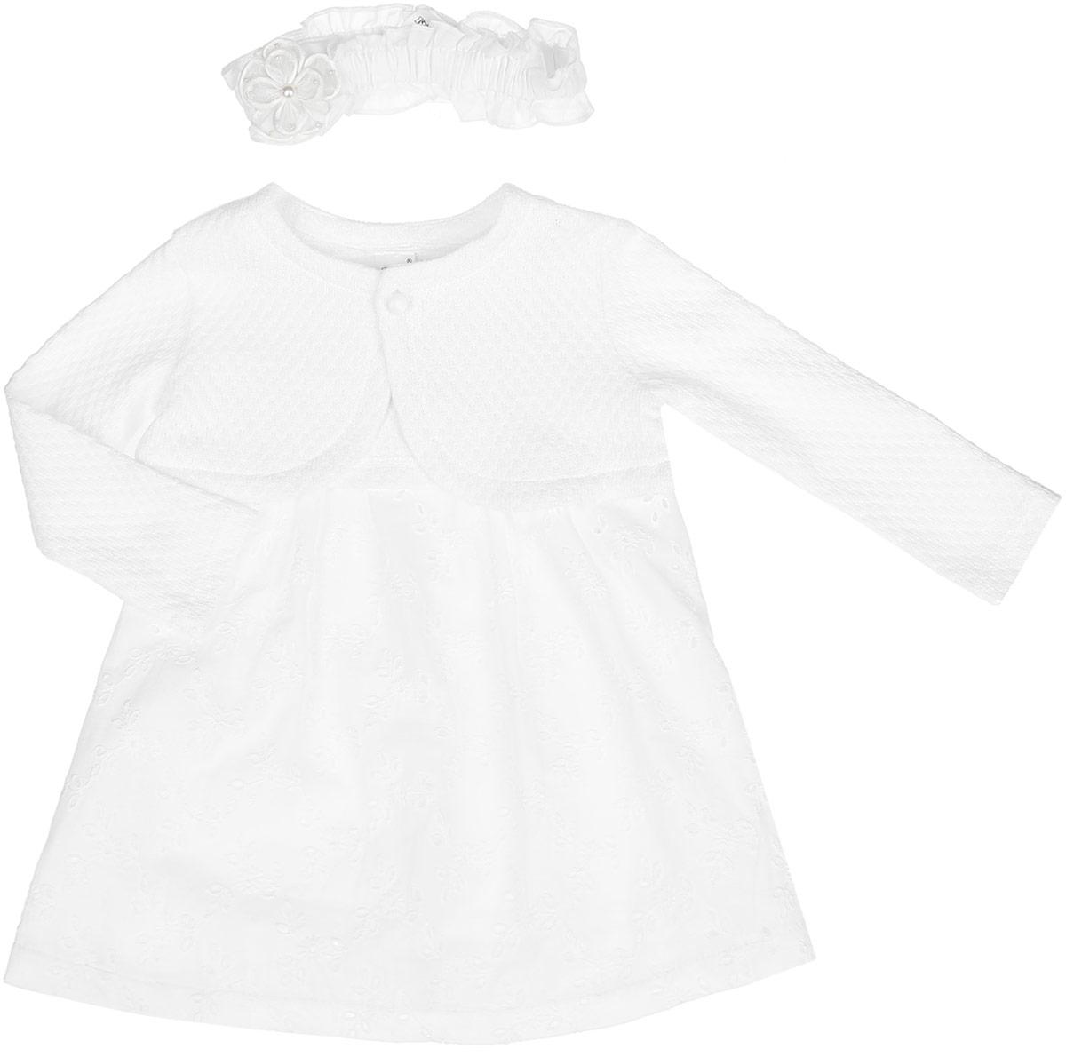 Комплект для девочки: платье, болеро, повязка. KP163KP163-17Комплект для девочки БЕМБІ - это замечательный подарок, который прекрасно подойдет для вашей малышки. Комплект состоит из платья, болеро и повязки на голову. Изготовленный из натурального хлопка, он необычайно мягкий и приятный на ощупь, не сковывает движения малышки и позволяет коже дышать, не раздражает даже самую нежную и чувствительную кожу ребенка, обеспечивая ему наибольший комфорт. Платье с круглым вырезом горловины и без рукавов сзади застегивается на пуговички. Изделие дополнено легкой подкладкой из натурального хлопка. Модель спереди оформлена небольшими складками и атласной лентой с бантом. Болеро с круглым вырезом горловины и длинными рукавами спереди застегивается на небольшую пуговичку. Повязка- симпатичный аксессуар, который защитит голову от яркого солнца или возьмет на себя функцию ободка. Модель дополнена резинкой и оформлена оригинальным пришитым цветочком. В таком комплекте ваша малышка будет чувствовать себя комфортно, уютно и всегда будет...