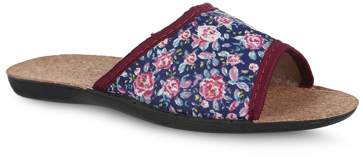 BTK70507-55-46PЛегкие домашние тапки с открытым носком от Bris придутся по душе вашей девочке! Верх модели, выполненный из текстиля, оформлен цветочным принтом и окантовкой. Подкладка из текстиля и стелька из пробки комфортны при движении. Рифление на подошве обеспечивает идеальное сцепление с любой поверхностью. Чудесные тапки подарят чувство уюта и комфорта.