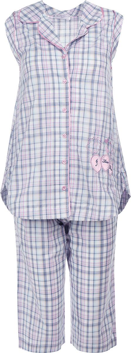 Пижама женская Night. 1422214222Очаровательная женская пижама Relax Mode Night включает в себя блузку без рукавов и капри. Изготовленная из натурального хлопка, пижама приятна на ощупь, не сковывает движения и позволяет коже дышать, обеспечивая комфорт. Блузка без рукавов с воротником с лацканами оформлена принтом в клетку и дополнена крупной вышивкой. Изделие застегивается на пуговицы спереди. Капри свободного кроя с широкой эластичной резинкой в поясе также украшены принтом в клетку и декорированы атласным бантом. . В такой пижаме вам будет максимально комфортно и уютно.