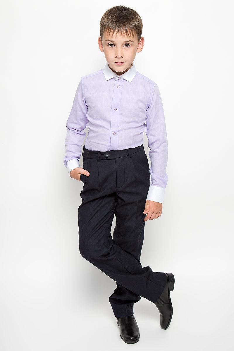 Рубашка64189_OLB, вар.1Стильная рубашка для мальчика Orby School идеально подойдет вашему ребенку. Изготовленная из натурального хлопка, она мягкая и приятная на ощупь, не сковывает движения и позволяет коже дышать, обеспечивая наибольший комфорт. Рубашка с длинными рукавами и отложным воротничком по всей длине застегивается на металлические кнопки с имитацией пуговиц, низ застегивается на одну пуговицу. Изделие оформлено принтом в мелкую елочку. Современный дизайн и расцветка делают эту рубашку стильным предметом детского гардероба. Модель можно носить как с джинсами, так и с классическими брюками.