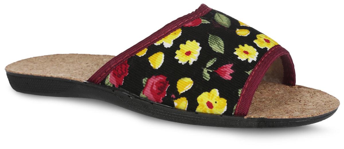 BTK70507-254PЛегкие домашние тапки с открытым носком от Bris придутся по душе вашей девочке! Верх модели, выполненный из текстиля, оформлен цветочным принтом. Подкладка из текстиля и стелька из пробки комфортны при движении. Рифление на подошве обеспечивает идеальное сцепление с любой поверхностью. Чудесные тапки подарят чувство уюта и комфорта.