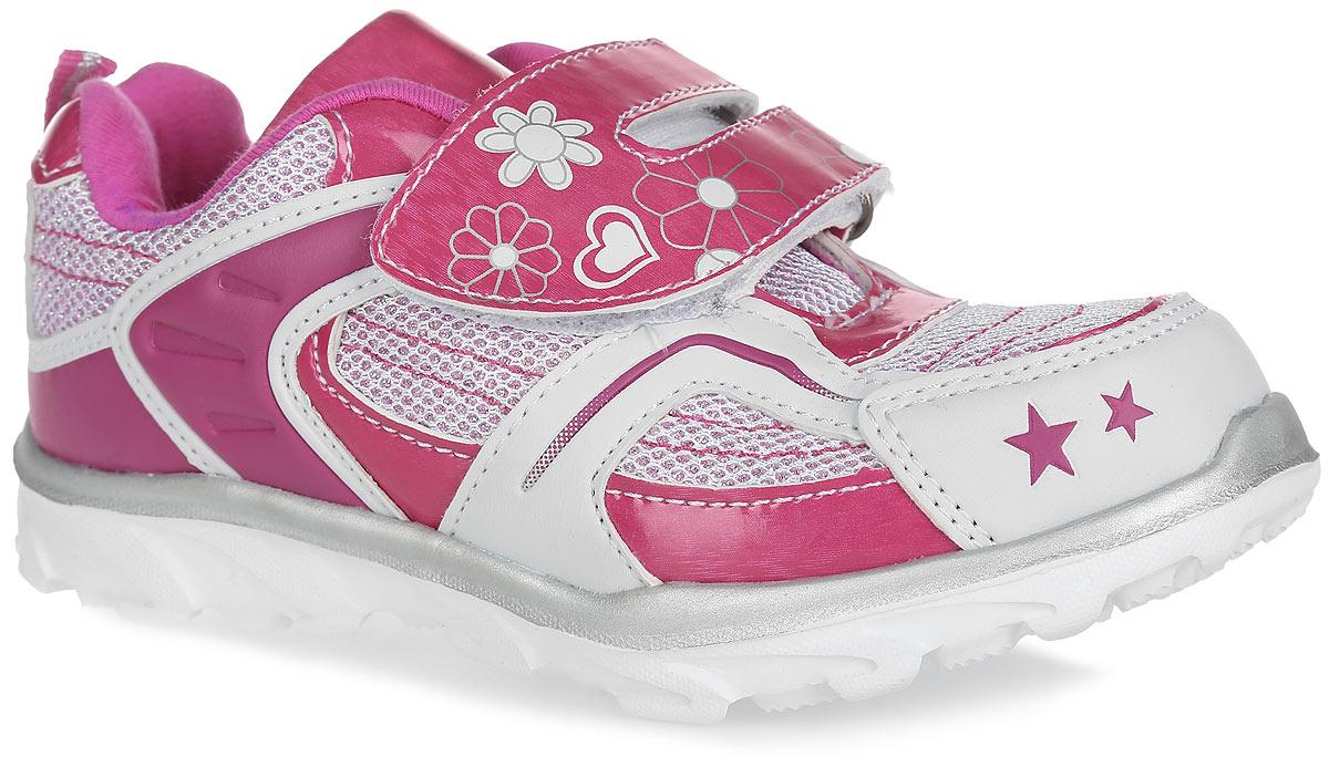 Кроссовки421-47Прелестные кроссовки от Lets придутся по душе вашей девочке. Модель, выполненная из текстиля и искусственной кожи, дополнена вставками из искусственной лакированной кожи и оформлена блестками, на ремешке - цветочным принтом, на мысе - изображением звезд. Ремешок с застежкой-липучкой обеспечит надежную фиксацию модели на ноге. Внутренняя поверхность из текстиля не натирает. Стелька из ЭВА материала с текстильной поверхностью гарантирует комфорт при движении. Подошва с рифлением обеспечивает идеальное сцепление с любой поверхностью. Оригинальные кроссовки - незаменимая вещь в гардеробе каждой девочки!