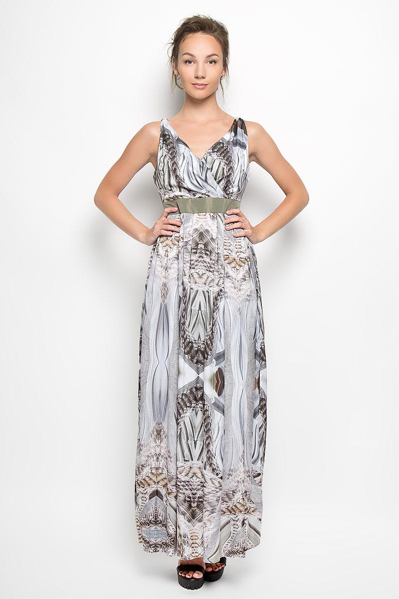 Платье. Y1102-0128Y1102-0128Элегантное платье Yarmina выполнено из 100% полиэстера. Такое платье обеспечит вам комфорт и удобство при носке и непременно вызовет восхищение у окружающих. Модель-макси на широких бретельках с V-образным вырезом горловины выгодно подчеркнет все достоинства вашей фигуры. Платье имеет металлические декоративные элементы на бретельках, оформлено оригинальным принтом под чешую. Изделие застегивается на скрытую застежку-молнию на спинке. Изысканное платье-макси с плотным непрозрачным подъюбником создаст обворожительный и неповторимый образ. Это модное и комфортное платье станет превосходным дополнением к вашему гардеробу, оно подарит вам удобство и поможет подчеркнуть ваш вкус и неповторимый стиль.