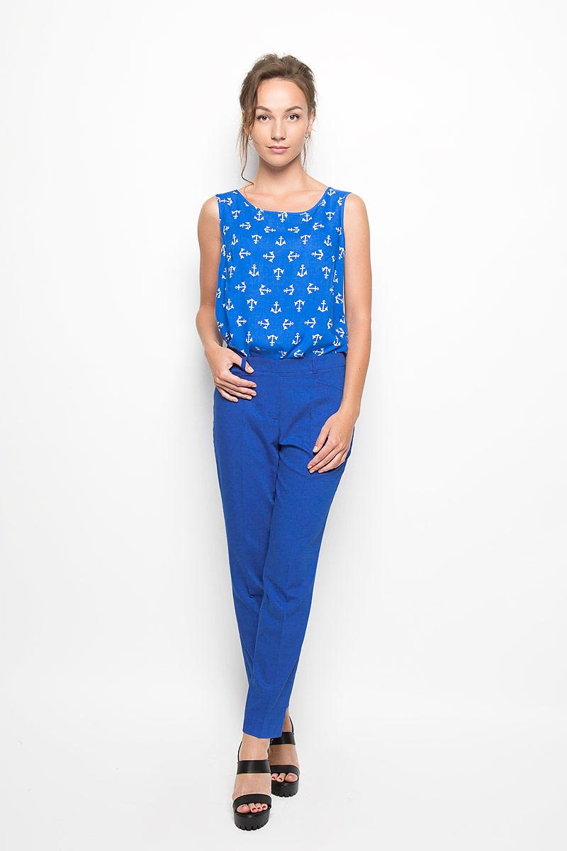 Блузка женская. Y1155-0230/Y1156-0230Y1155-0230Стильная женская блузка Yarmina, выполненная из 100% вискозы, подчеркнет ваш уникальный стиль и поможет создать женственный образ. Модель c круглым вырезом горловины без рукавов оформлена принтом в виде якорей. Такая блузка будет дарить вам комфорт в течение всего дня и послужит замечательным дополнением к вашему гардеробу.