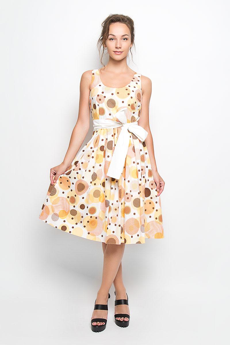 ПлатьеB1141-0889Элегантное платье Yarmina выполнено из эластичного хлопка. Такое платье обеспечит вам комфорт и удобство при носке и непременно вызовет восхищение у окружающих. Модель-миди на широких бретельках, не регулируемых по длине, с круглым вырезом горловины и пришивной расклешенной юбкой выгодно подчеркнет все достоинства вашей фигуры. Изделие застегивается на скрытую застежку-молнию сбоку, оформлено крупным принтом в виде кругов различного диаметра. В комплект входит съемный широкий текстильный пояс. Изысканное платье-миди создаст обворожительный и неповторимый образ. Это модное и удобное платье станет превосходным дополнением к вашему гардеробу, оно подарит вам удобство и поможет подчеркнуть ваш вкус и неповторимый стиль.