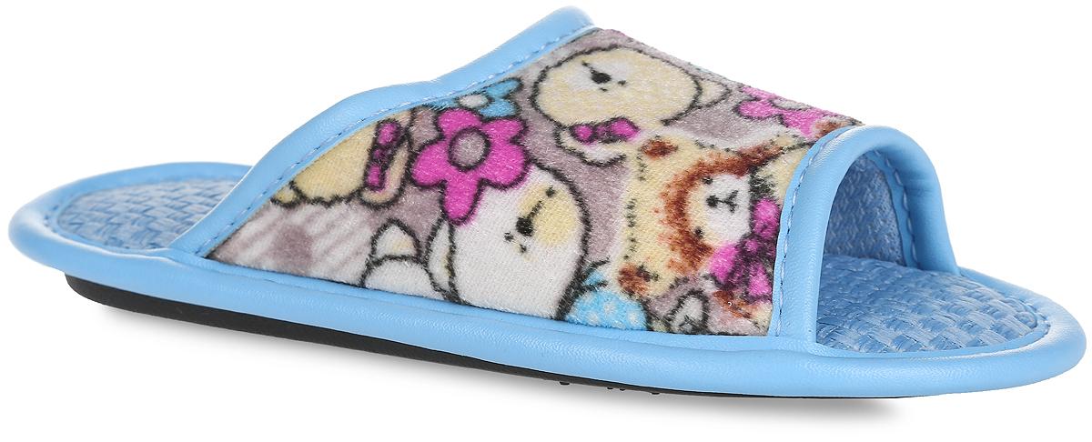BTK70802-97-43BЛегкие домашние тапки с открытым носком от Bris придутся по душе вашей девочке! Верх модели, выполненный из текстиля, оформлен изображением мишек. Модель дополнена окантовкой из искусственной кожи. Подкладка и стелька из текстиля комфортны при движении. Рифление на подошве обеспечивает идеальное сцепление с любой поверхностью. Чудесные тапки подарят чувство уюта и комфорта.
