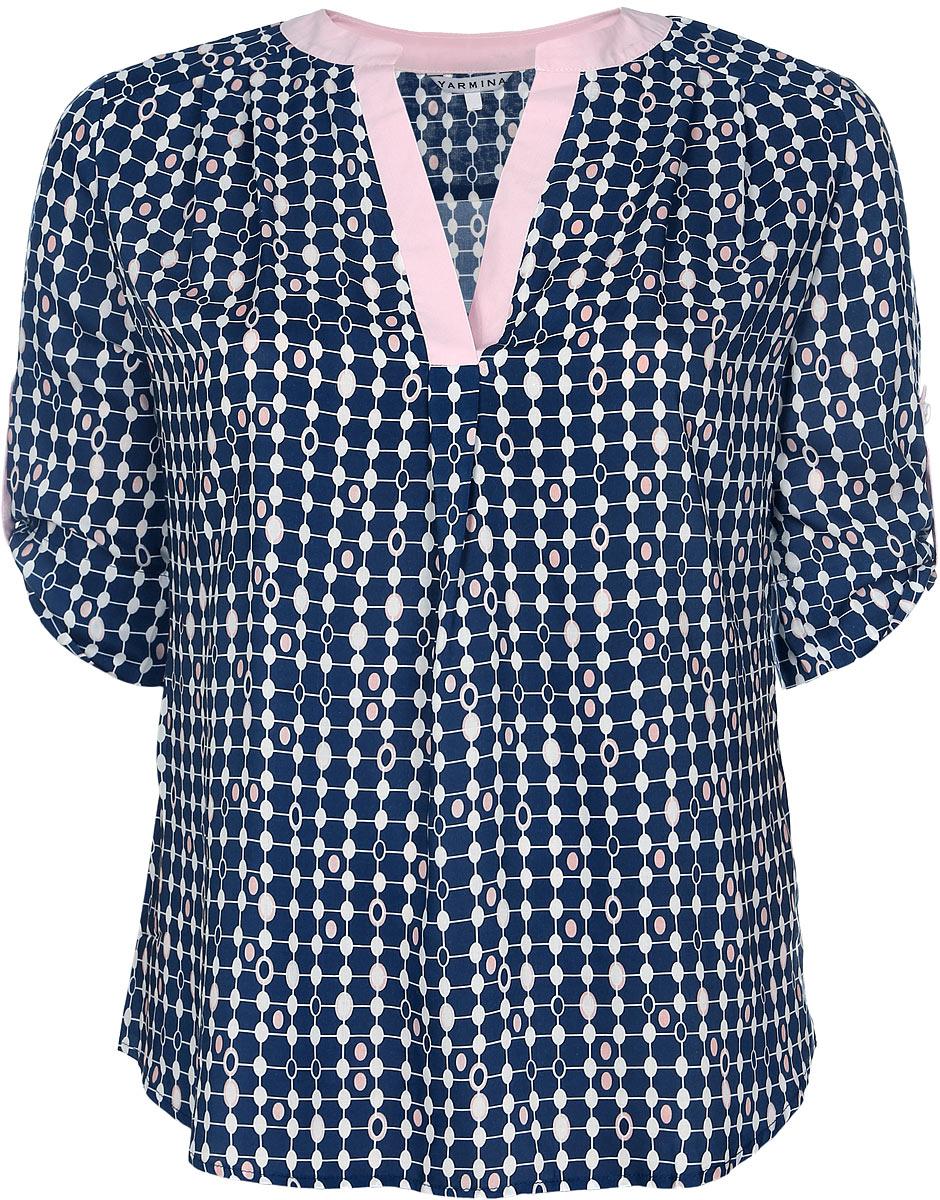 Блузка женская. B1399-0873B1399-0873Стильная женская блузка Yarmina, выполненная из 100% вискозы, подчеркнет ваш уникальный стиль и поможет создать женственный образ. Модель с V-образным вырезом горловины и рукавами длинной 1/2. Низ рукавов дополнен хлястиками на пуговицах. Изделие оформлено оригинальным орнаментом. Такая блузка будет дарить вам комфорт в течение всего дня и послужит замечательным дополнением к вашему гардеробу.