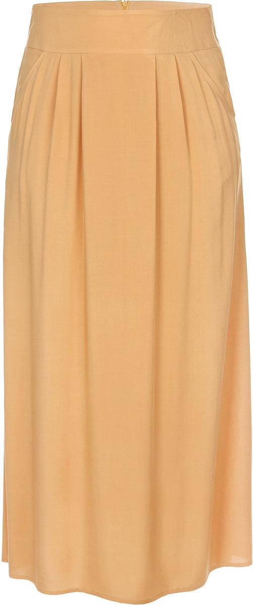 Юбка. 0644B1336-0644Великолепная юбка Yarmina изготовлена из 100% вискозы. Модель миди длины на широком поясе, застегивается сзади на потайную застежку-молнию. В боковых швах обработаны втачные карманы. Эта стильная и в тоже время комфортная юбка - отличный вариант на каждый день.