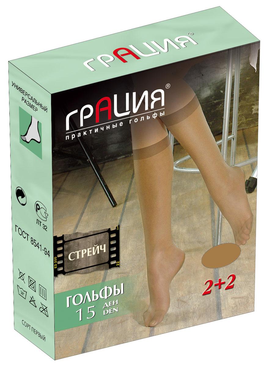 Гольфы женские Стрейч 15, 2 парыСтрейч 15Стильные женские гольфы повышенной эластичности Грация Стрейч 15, изготовленные из высококачественного эластичного полиамида, идеально подойдут для повседневной носки. Входящий в состав материала полиамид обеспечивает износостойкость, а эластан позволяет гольфам легко тянуться, что делает их комфортными в носке. Шелковистые гольфы легко тянутся. Гладкие и мягкие на ощупь, они имеют укрепленный мысок. Идеальное облегание и комфорт гарантированы при каждом движении. Плотность: 15 den. В комплекте 2 пары.