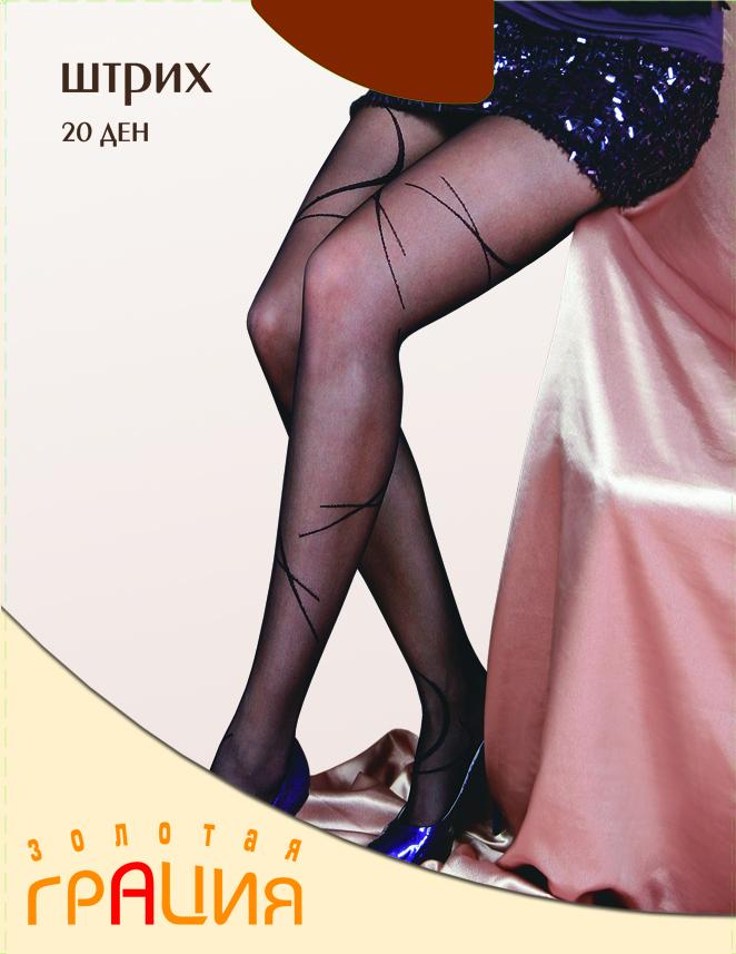 Колготки жен. Штрих 20Штрих 20Фантазийные колготки из Мультифибры с элегантным рисунком по всей ноге. С плоскими швами, уплотненным мыском и х/б ластовицей.
