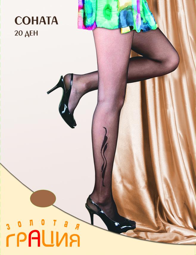 Колготки жен. Соната 20Соната 20Фантазийные колготки с элегантным рисунком-тату на голени. Из Мультифибры, плоские швы, уплотненный мысок, х/б ластовица.