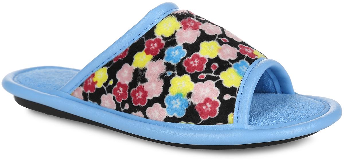 BTK70802-97-44BЛегкие домашние тапки с открытым носком от Bris придутся по душе вашей девочке! Верх модели выполнен из текстиля с цветочным принтом. Модель оформлена окантовкой из искусственной кожи. Подкладка и стелька из мягкого текстиля комфортны при движении. Рифление на подошве обеспечивает идеальное сцепление с любой поверхностью. Чудесные тапки принесут комфорт и уют вашей девочке!