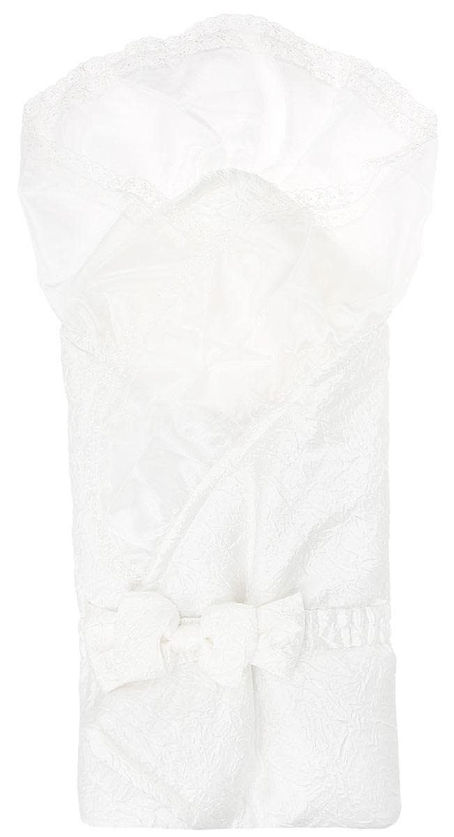 KB25-17Конверт-одеяло на выписку Бембi прекрасно подойдет для выписки новорожденного из роддома. В дальнейшем его можно использовать во время прогулок с малышом в коляске-люльке или в качестве удобного коврика для пеленания. Конверт изготовлен из полиэстера с подкладкой из комбинированного материала и синтепоновым наполнителем. Такой конверт-одеяло невероятно легкий, превосходно сохраняет тепло и очень приятен на ощупь. Конверт-одеяло складывается и фиксируется при помощи эластичного текстильного ремня с кнопками, украшенного декоративным бантом. Верхняя часть конверта украшена несъемной вуалью с ажурной вышивкой. Оригинальный конверт на выписку станет превосходным подарком молодым родителям.