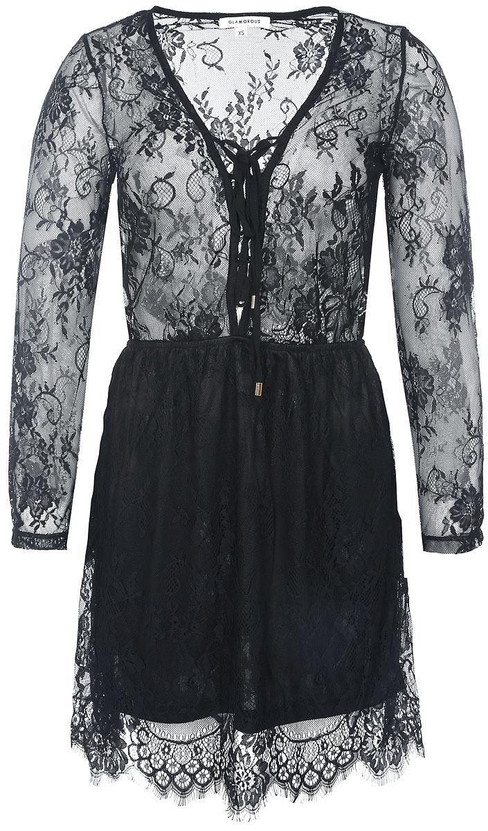 Платье. KA4561KA4561 BlackРомантичное и невероятно легкое платье Glamorous, выполненное из высококачественного материала, преподносит все достоинства женской фигуры в наиболее выгодном свете. Модель с V-образным вырезом горловины и длинными рукавами спереди зашнуровывается на тонкие завязки. Полупрозрачная модель дополнена плотной подкладкой на юбке. Это стильное платье станет отличным дополнением к вашему гардеробу!