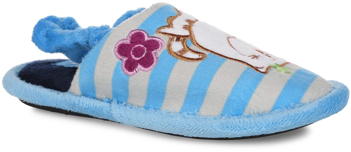 353-10 КТР ДЛегкие домашние тапки от Bris придутся по душе вашей девочке! Верх модели, выполненный из текстиля, оформлен принтом в полоску, декоративными нашивками в виде котика и цветочка. Подкладка и стелька из мягкого текстиля не дадут ногам вашей девочки замерзнуть. Резинка, оформленная текстилем, обеспечивает надежную фиксацию модели на ноге. Рифление на подошве обеспечивает идеальное сцепление с любой поверхностью. Чудесные тапки принесут комфорт и уют вашей девочке!
