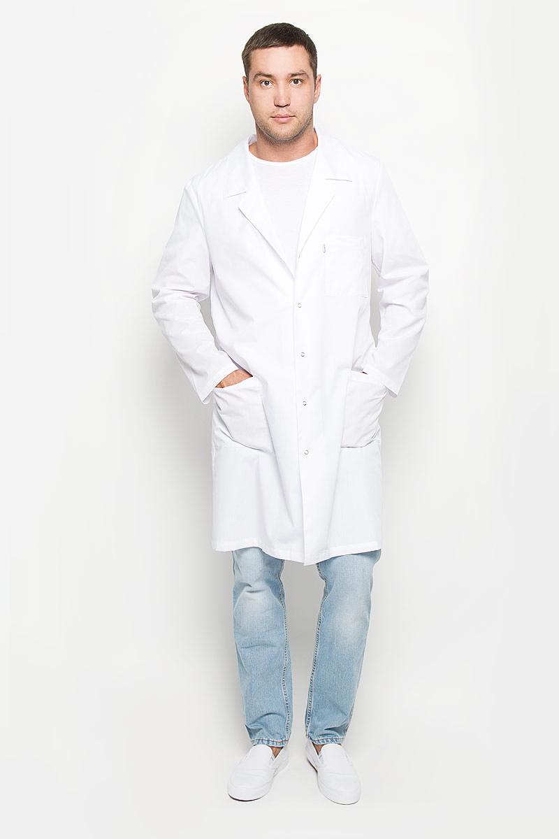 Халат медицинский мужской Студент. 03-376-020-02303-376-020-023Стильный медицинский халат Med Fashion Lab Студент выполнен из плотной ткани с учетом индивидуальных особенностей работы медицинского персонала. Модель с длинными рукавами и отложным воротником с лацканами застегивается на кнопки по всей длине. Спереди изделие оформлено тремя накладными карманами, один из которых расположен на уровне груди. Также халат сзади дополнен хлястиками на кнопках и центральной шлицей. Удобный и модный медицинский халат станет великолепным дополнением гардероба любого специалиста. Стильный крой подчеркнет ваш вкус, а практичный материал подарит ощущение комфорта и уверенности.
