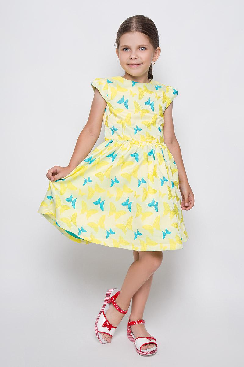ПлатьеSSP1637-2Яркое платье для девочки Nota Bene идеально подойдет вашей маленькой моднице. Верх платья выполнен из гладкой ткани с фактурным русунком. На модели предусмотрена подкладка, изготовленная из натурального хлопка. Платье мягкое и приятное на ощупь, не стесняет движений и хорошо вентилируется. Платье с круглым вырезом горловины и короткими рукавами-крылышками застегивается по спинке на скрытую молнию, что помогает при переодевании ребенка. От линии талии заложены складочки, придающие изделию пышность. Изделие оформлено красочным изображением бабочек. В таком платье каждая девочка почувствует себя настоящей принцессой и всегда будет в центре внимания!