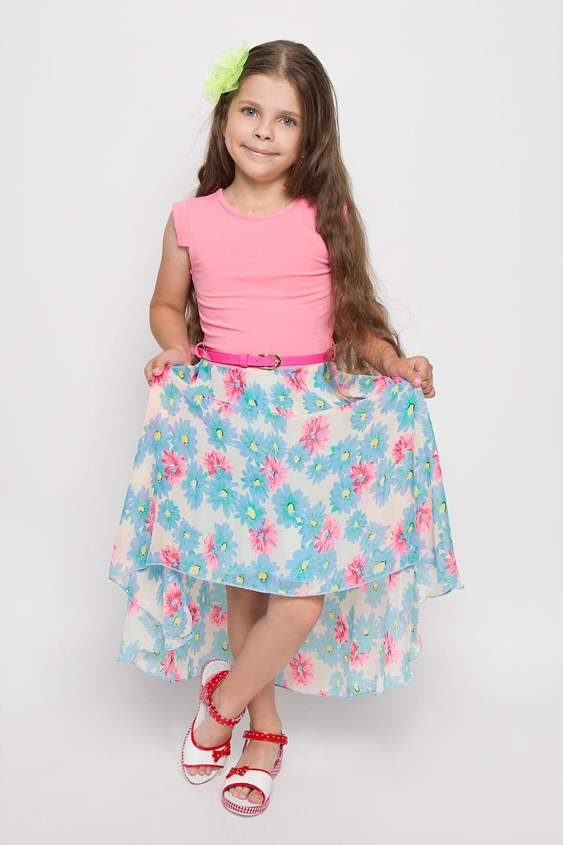 Платье для девочки. SS162G281-10SS162G281-10Платье для девочки Nota Bene поможет создать яркий и красивый образ. Верх платья изготовлен из мягкой эластичной ткани, юбка - из легкой полупрозрачной. На модели предусмотрена подкладка в нижней части. Платье тактильно приятное, не стесняет движений, хорошо пропускает воздух. Модель с круглым вырезом горловины и короткими рукавами-крылышками застегивается сзади на пуговицу. Линию талии подчеркивает ремешок на шлевках. Спинка модели удлинена. Платье оформлено цветочным принтом. Обладательница такого платья всегда будет в центре внимания! В комплект входит аксессуар в виде яркого декоративного цветка, который можно использовать в качестве заколки или броши.