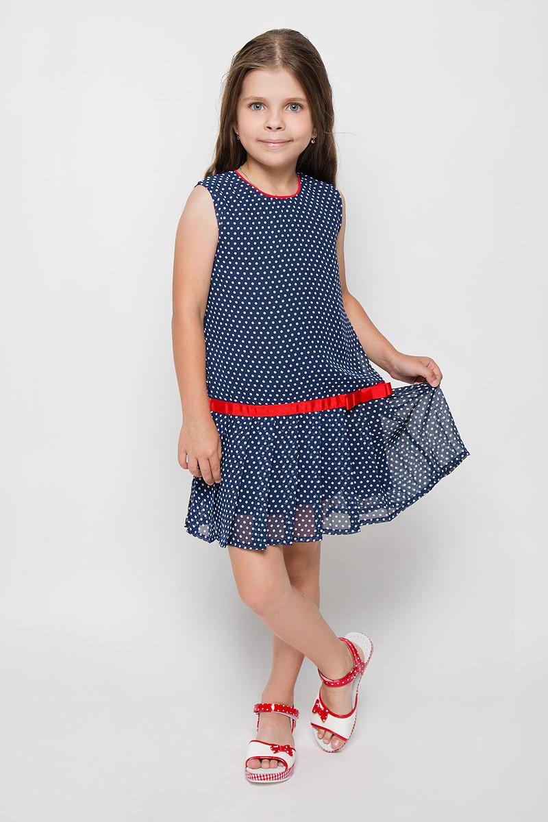 Платье для девочки. SS161G5245-29SS161G5245-29Стильное платье для девочки Nota Bene идеально подойдет вашей маленькой моднице. Верх платья выполнен из легкой полупрозрачной ткани. На модели предусмотрена подкладка, изготовленная из хлопка с добавлением полиэстера. Платье легкое и воздушное, не стесняет движений и хорошо вентилируется. Платье с круглым вырезом горловины застегивается по спинке на скрытую молнию, что помогает при переодевании ребенка. От заниженной линии талии заложены складочки, придающие изделию воздушность. Изделие оформлено принтом в горох, украшено вшитой лентой контрастного цвета и бантом. В таком платье ваша маленькая принцесса будет чувствовать себя комфортно, уютно и всегда будет в центре внимания!