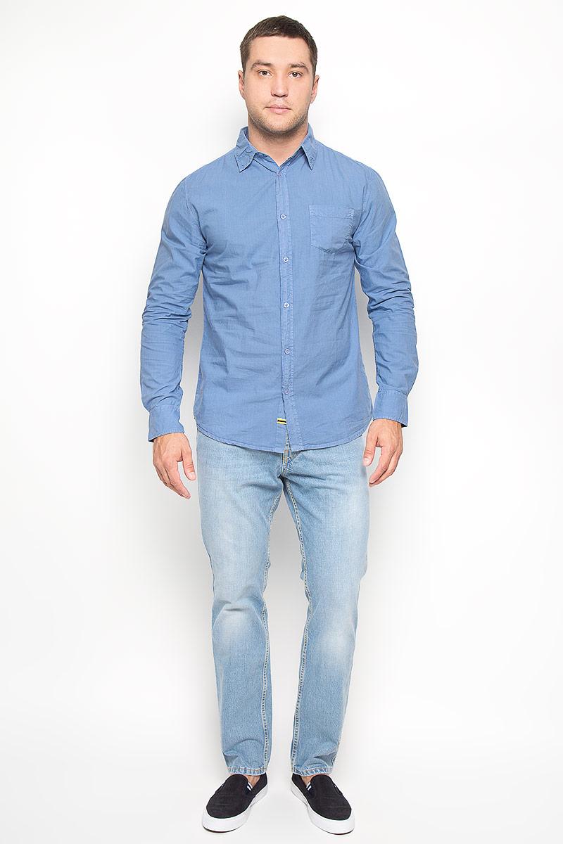 Рубашка мужская. 1015097810150978 505Стильная мужская рубашка Broadway, изготовленная из натурального хлопка, необычайно мягкая и приятная на ощупь, не сковывает движения и позволяет коже дышать, обеспечивая наибольший комфорт. Модель с отложным воротником, длинными рукавами и полукруглым низом застегивается на пластиковые пуговицы. На груди изделия располагается небольшой накладной карман. Рукава рубашки дополнены манжетами на пуговицах. Эта рубашка идеальный вариант для повседневного гардероба. Такая модель порадует настоящих ценителей комфорта и практичности!