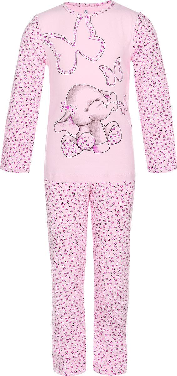 ПижамаN9021159-22/ N9021159A-22/N9021159B-22Мягкая пижама для девочки Baykar, состоящая из футболки с длинным рукавом и брюк, идеально подойдет ребенку для отдыха и сна. Модель выполнена из хлопка с добавлением эластана, очень приятная к телу, не сковывает движения, хорошо пропускает воздух. Футболка с круглым вырезом горловины и длинными рукавами оформлена рисунком в виде забавного слоненка. Рукава дополнены цветочным принтом. Горловина и низ рукавов обработаны эластичными бейками. Брюки на талии имеют мягкую резинку, благодаря чему они не сдавливают животик ребенка и не сползают. Изделие оформлено цветочным принтом. В такой пижаме ребенок будет чувствовать себя комфортно и уютно!