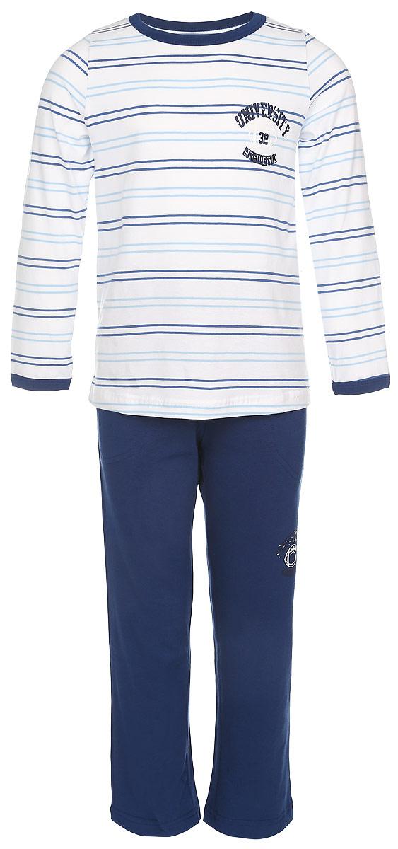 ПижамаN9082291-22/N9082291B-22Пижама для мальчика Baykar, выполненная из эластичного хлопка, идеально подойдет ребенку для отдыха и сна. Материал изделия мягкий, тактильно приятный, не сковывает движения, хорошо пропускает воздух. Пижама состоит из футболки с длинным рукавом и брюк. Футболка с длинными рукавами и круглым вырезом горловины оформлена принтом в полоску. Вырез горловины и края рукавов дополнены трикотажными резинками. На груди изделие украшено термоаппликацией в виде надписей. Брюки прямого кроя имеют на талии мягкую резинку, благодаря чему они не сдавливают живот ребенка и не сползают. Спереди модель дополнена двумя втачными карманами. Украшены брюки небольшой термоаппликацией. В такой пижаме ребенок будет чувствовать себя комфортно и уютно!