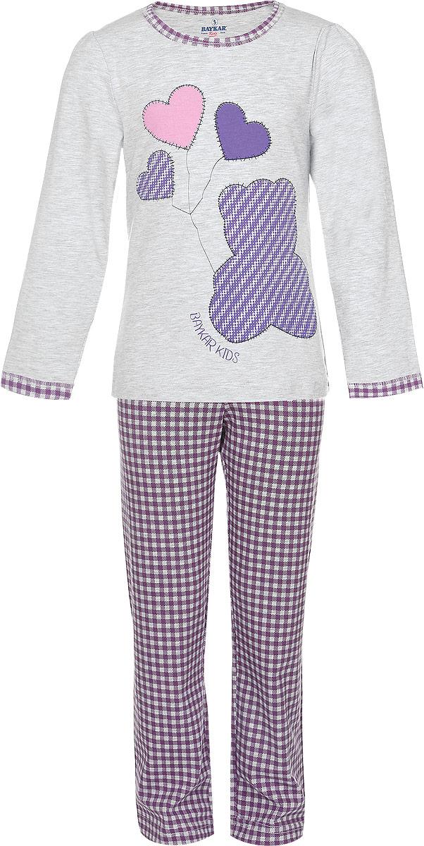 ПижамаN9034228A-22/N9034228B-22Пижама для девочки Baykar, выполненная из эластичного хлопка, идеально подойдет маленькой принцессе для сна и отдыха. Материал изделия мягкий, тактильно приятный, не сковывает движения, хорошо пропускает воздух. Пижама состоит из футболки с длинным рукавом и брюк. Футболка с длинными рукавами-фонариками и круглым вырезом горловины украшена оригинальным принтом. Вырез горловины и края рукавов дополнены эластичными бейками. Брюки прямого кроя имеют на талии мягкую широкую резинку, благодаря чему они не сдавливают животик ребенка и не сползают. Изделие оформлено принтом в клетку. Высокое качество исполнения и дизайн принесут удовольствие от покупки и подарят отличное настроение!