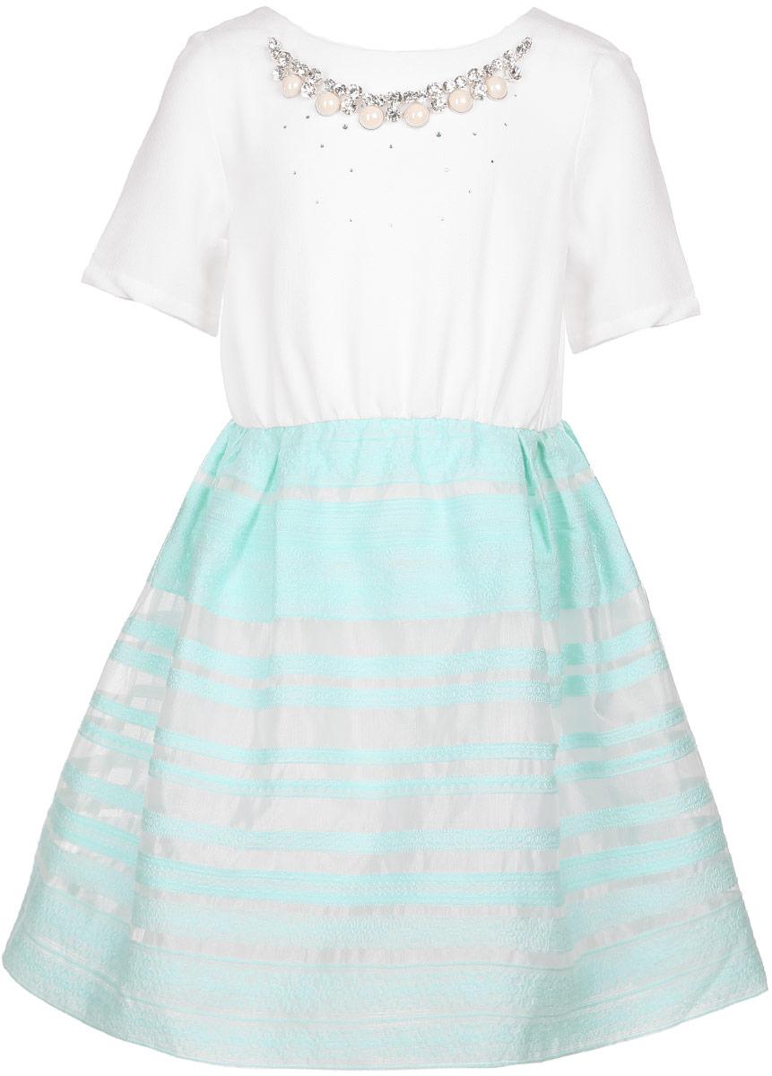 Платье для девочки. ND6504-1ND6504-1Очаровательное платье для девочки Nota Bene идеально подойдет вашей малышке. Платье выполнено из полиэстера и имеет подкладку из хлопка, оно не сковывает движения малышки, великолепно отводит влагу от тела и не раздражает даже самую нежную и чувствительную кожу ребенка, обеспечивая наибольший комфорт. Платье-миди с короткими рукавами и круглым вырезом горловины застегивается на скрытую застежку-молнию на спинке. Изделие оформлено стразами и украшено несъемным ожерельем с крупными блестящими вставками. Платье дополнено подъюбником из сетчатого материала, обеспечивающего пышность юбки. Оригинальный современный дизайн и модная расцветка делают это платье стильным предметом детского гардероба. В нем ваша малышка будет чувствовать себя уютно и комфортно и всегда будет в центре внимания!