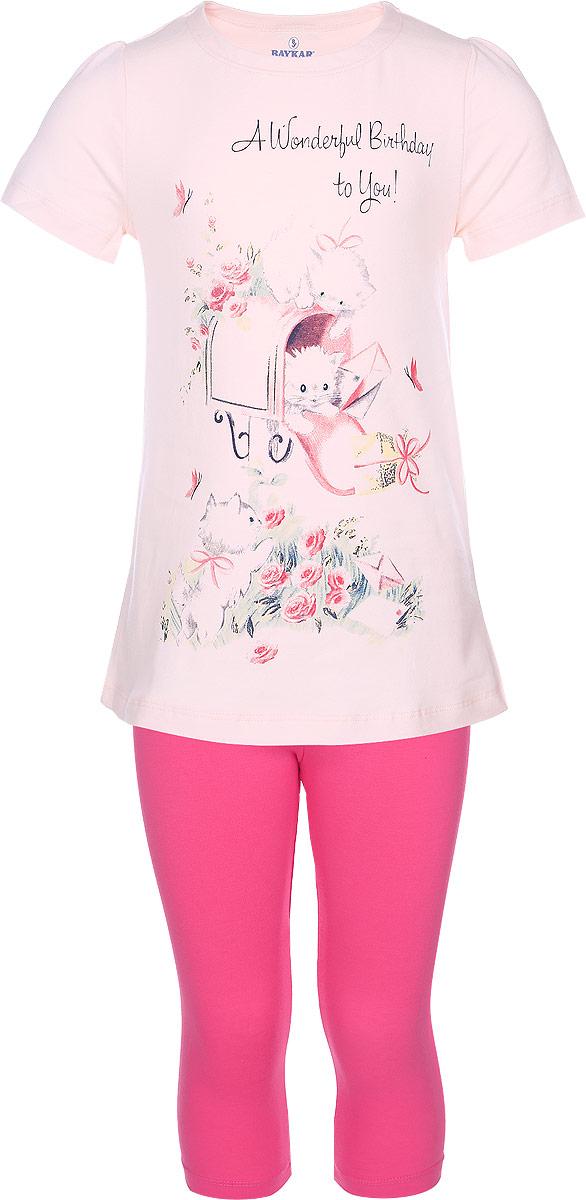 N9042209-22Комплект одежды для девочки Baykar состоит из футболки и капри. Комплект выполнен из эластичного хлопка, необычайно мягкий, очень приятный к телу, не сковывает движения, хорошо пропускает воздух. Футболка с круглым вырезом горловины и короткими рукавами имеет трапециевидный силуэт. Модель украшена принтом с изображением котят и принтовой надписью. Капри на талии имеют мягкую резинку, благодаря чему они не сдавливают животик ребенка и не сползают. В таком комплекте маленькая принцесса будет чувствовать себя комфортно и уютно во время отдыха!