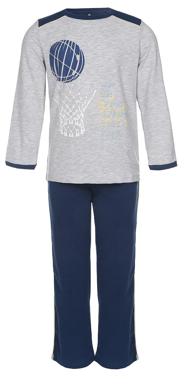 ПижамаN9088220-22/N9088220B-22Пижама для мальчика Baykar, выполненная из эластичного хлопка, идеально подойдет ребенку для отдыха и сна. Материал изделия мягкий, тактильно приятный, не сковывает движения, хорошо пропускает воздух. Пижама состоит из футболки с длинным рукавом и брюк. Футболка с длинными рукавами и круглым вырезом горловины оформлена принтом на спортивную тематику, а также надписями. Вырез горловины и края рукавов дополнены эластичными бейками. Брюки прямого кроя имеют на талии мягкую резинку, благодаря чему они не сдавливают живот ребенка и не сползают. По бокам модель дополнена контрастными лампасами. Высокое качество исполнения и дизайн принесут удовольствие от покупки и подарят отличное настроение!