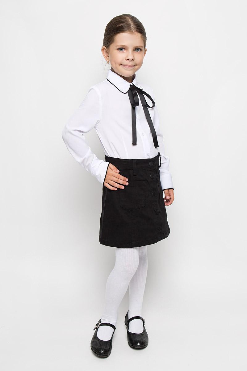 64149_OLG_вариант 1Блузка для девочки Orby School, выполненная из полиэстера, вискозы и эластана, займет достойное место в гардеробе школьницы. Материал изделия легкий, мягкий и приятный на ощупь, не сковывает движения и хорошо пропускает воздух. Блузка с отложным воротником и длинными рукавами застегивается на пуговицы по всей длине. Под воротником модель дополнена съемной лентой контрастного цвета, завязывающейся в бант. На рукавах предусмотрены манжеты с застежками-пуговицами. Блузка отлично сочетается с юбками и брюками. В ней вашей принцессе всегда будет уютно и комфортно!