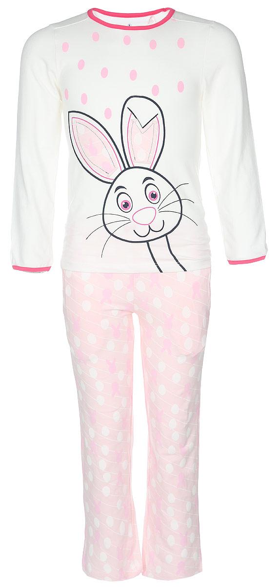 Пижама для девочки. N9011N9011112A-22/N9011112B-22Пижама для девочки Baykar, выполненная из эластичного хлопка, идеально подойдет маленькой принцессе для сна и отдыха. Материал изделия мягкий, тактильно приятный, не сковывает движения, хорошо пропускает воздух. Пижама состоит из футболки с длинным рукавом и брюк. Футболка с длинными рукавами и круглым вырезом горловины украшена изображением забавного зайчика, ушки которого оформлены принтованными вставками. Вырез горловины и края рукавов дополнены эластичными бейками контрастного цвета. Брюки прямого кроя имеют на талии мягкую широкую резинку, благодаря чему они не сдавливают животик ребенка и не сползают. Спереди расположены два втачных кармана. Изделие оформлено оригинальным принтом и декорировано атласным бантиком. Высокое качество исполнения и дизайн принесут удовольствие от покупки и подарят отличное настроение!