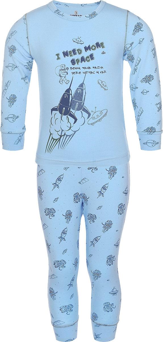 Пижама для мальчика. N9085207N9085207-22/N9085207A-22Пижама для мальчика Baykar, выполненная из эластичного хлопка, идеально подойдет ребенку для отдыха и сна. Материал изделия мягкий, тактильно приятный, не сковывает движения, хорошо пропускает воздух. Пижама состоит из футболки с длинным рукавом и брюк. Футболка с длинными рукавами имеет круглый вырез горловины, дополненный бейкой. На рукавах имеются широкие манжеты. Брюки имеют на талии мягкую резинку, благодаря чему они не сдавливают животик ребенка и не сползают. На брючинах предусмотрены широкие манжеты. Пижама оформлена принтом на космическую тематику и надписями, украшена декоративной прострочкой. В такой пижаме ребенок будет чувствовать себя комфортно и уютно!