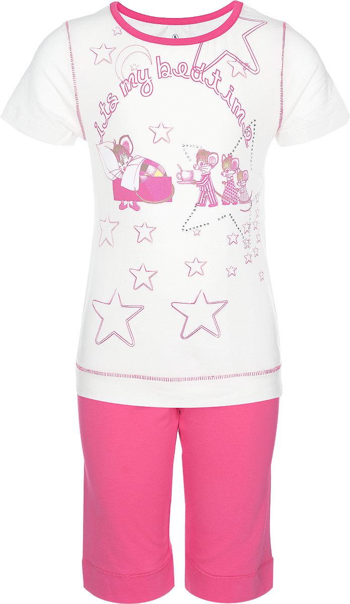 Комплект для девочки: футболка, шорты. N9039N9039208-22Комплект одежды для девочки Baykar состоит из футболки и шорт. Модель выполнена из хлопка с добавлением эластана, очень приятная к телу, не сковывает движения, хорошо пропускает воздух. Футболка с круглым вырезом горловины и короткими рукавами оформлена оригинальным принтом и украшена стразами. Горловина обработана эластичной бейкой. Низ изделия дополнен широкой манжетой. Шорты на талии имеют мягкую резинку, благодаря чему они не сдавливают животик ребенка и не сползают. Низ изделия дополнен широкими манжетами. В таком комплекте ребенок будет чувствовать себя комфортно и уютно!