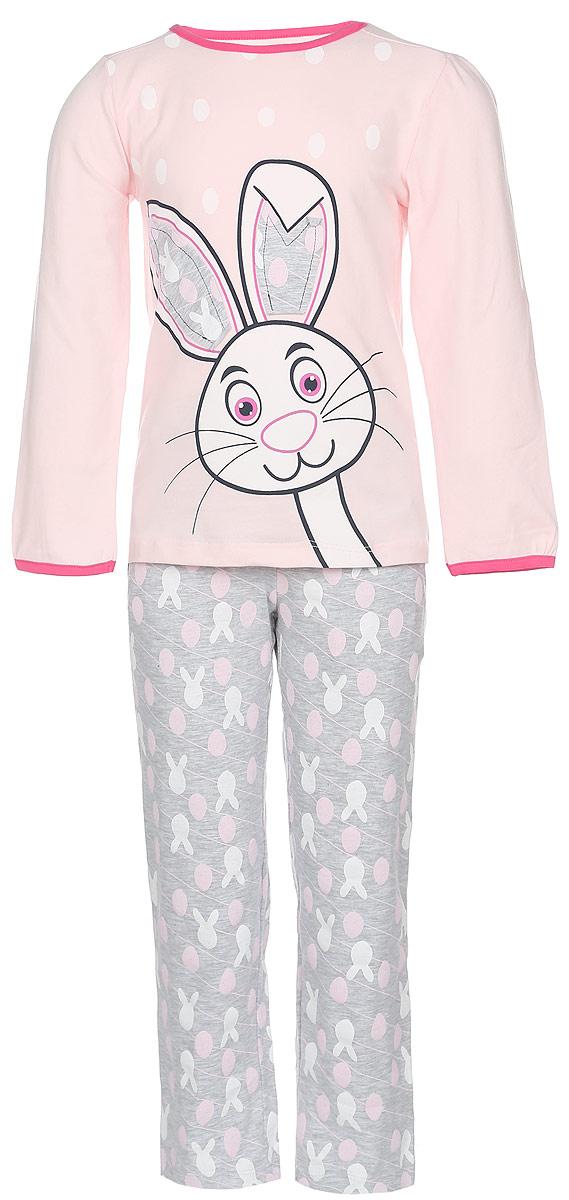 ПижамаN9011112A-22/N9011112B-22Пижама для девочки Baykar, выполненная из эластичного хлопка, идеально подойдет маленькой принцессе для сна и отдыха. Материал изделия мягкий, тактильно приятный, не сковывает движения, хорошо пропускает воздух. Пижама состоит из футболки с длинным рукавом и брюк. Футболка с длинными рукавами и круглым вырезом горловины украшена изображением забавного зайчика, ушки которого оформлены принтованными вставками. Вырез горловины и края рукавов дополнены эластичными бейками контрастного цвета. Брюки прямого кроя имеют на талии мягкую широкую резинку, благодаря чему они не сдавливают животик ребенка и не сползают. Спереди расположены два втачных кармана. Изделие оформлено оригинальным принтом и декорировано атласным бантиком. Высокое качество исполнения и дизайн принесут удовольствие от покупки и подарят отличное настроение!